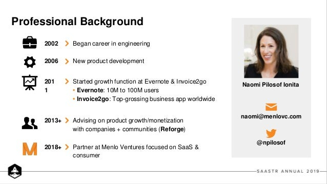 Professional Background 201 1 2002 2006 2018+ 2013+ naomi@menlovc.com @npilosof Started growth function at Evernote & Invo...