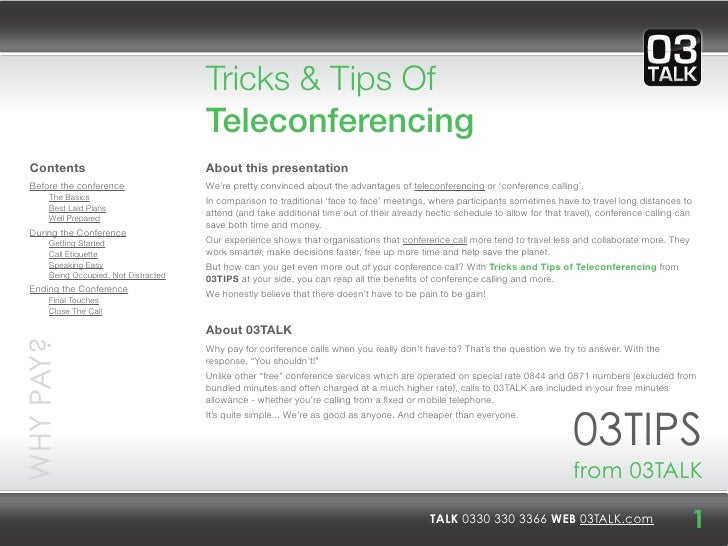 Tricks & Tips Of                                       Teleconferencing  Contents                             About this p...