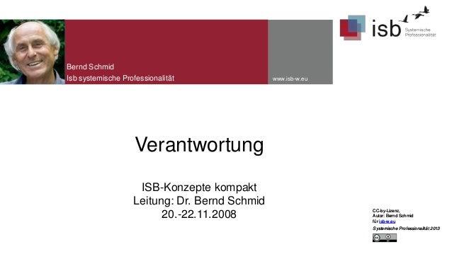 Bernd Schmid Isb systemische Professionalität  www.isb-w.eu  Verantwortung ISB-Konzepte kompakt Leitung: Dr. Bernd Schmid ...