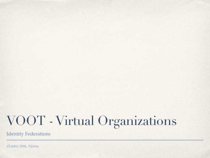 VOOT - Virtual OrganizationsIdentity FederationsOctober 20th, Vienna