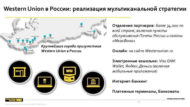 7 Western Union в России: реализация мультиканальной стратегии Отделения партнеров: более 34,000 по всей стране, включая п...
