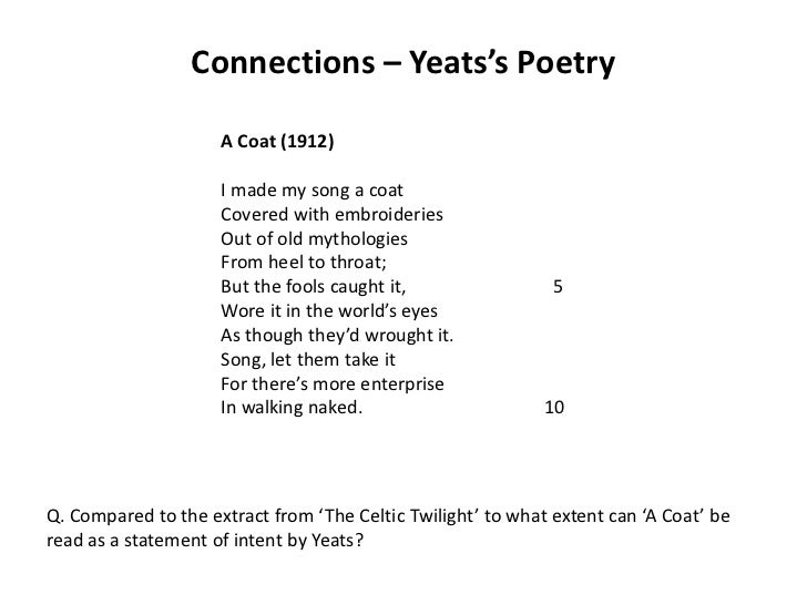 yeats poetry Visit amazoncom's w b yeats page and shop for all w b yeats books check out pictures, bibliography, and biography of w b yeats.