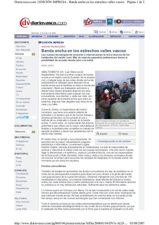 Banda ancha en los estrechos valles vascos -Diario Vasco 04