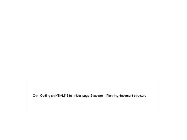 Ch4. Coding an HTML5 Site: Inicial page Structure – Planning document structure