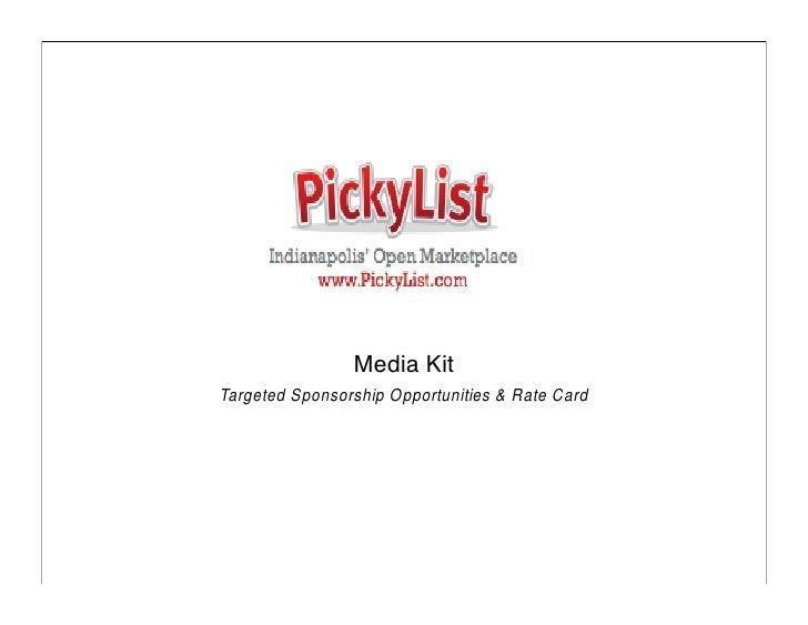 Media Kit Targeted Sponsorship Opportunities & Rate Card