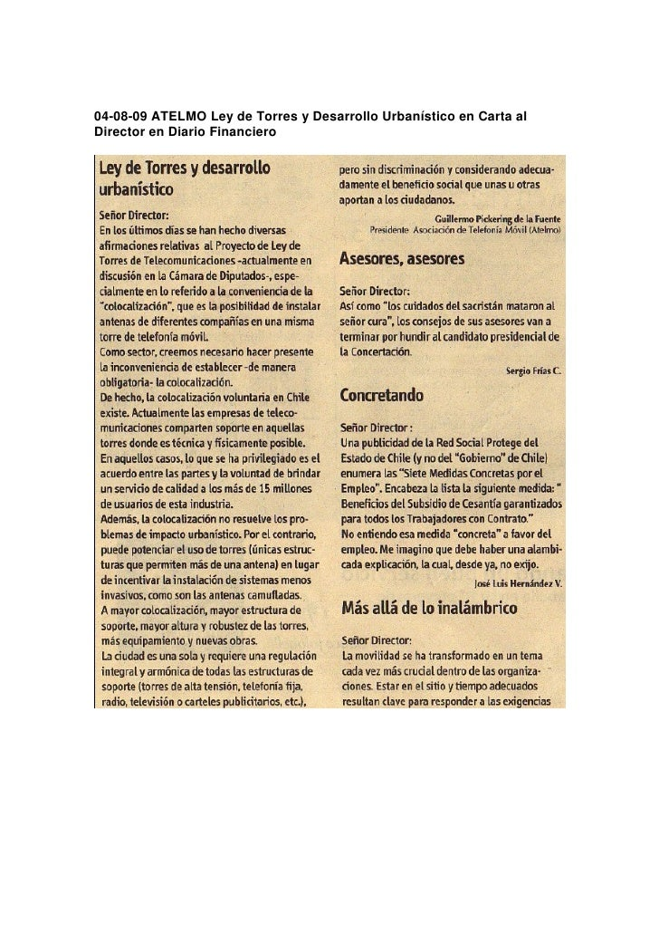 04-08-09 ATELMO Ley de Torres y Desarrollo Urbanístico en Carta al Director en Diario Financiero