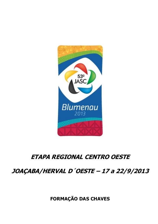 ETAPA REGIONAL CENTRO OESTE JOAÇABA/HERVAL D´OESTE – 17 a 22/9/2013 FORMAÇÃO DAS CHAVES