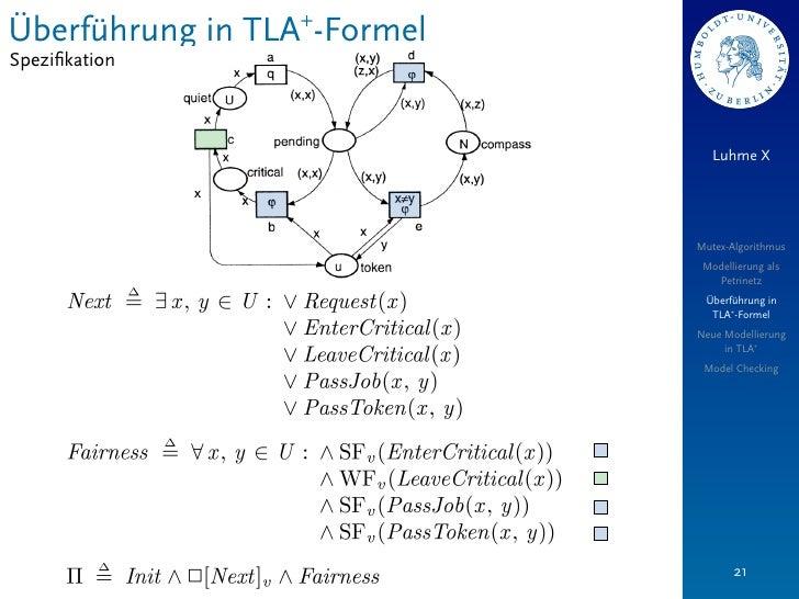 Überführung in TLA+-FormelSpezifikation                                Luhme X                             Mutex-Algorithmu...