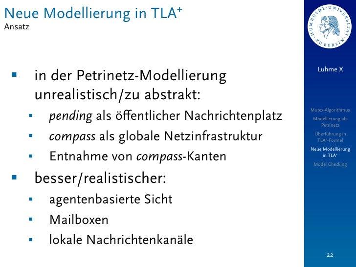 Neue Modellierung in TLA+Ansatz                                                           Luhme X §        in der Petrine...