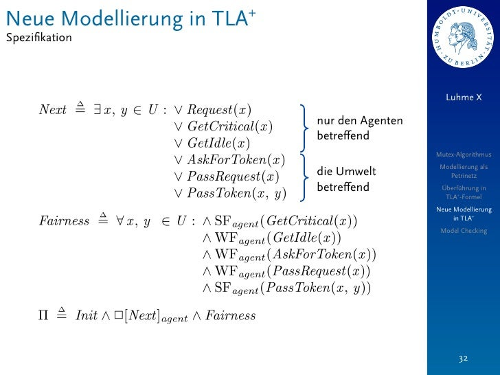 Neue Modellierung in TLA+Spezifikation                                                 Luhme X                            n...