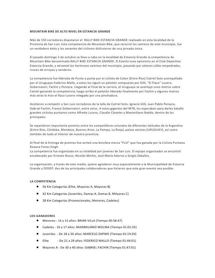 MOUNTAIN BIKE DE ALTO NIVEL EN ESTANCIA GRANDE  Más de 150 corredores disputaron el RALLY BIKE ESTANCIA GRANDE realizado e...
