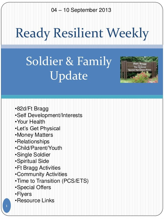 Ready Resilient Weekly Soldier & Family Update •82d/Ft Bragg •Self Development/Interests •Your Health •Let's Get Physical ...