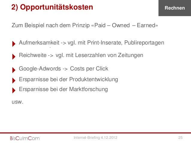 2) Opportunitätskosten                                           RechnenZum Beispiel nach dem Prinzip «Paid – Owned – Earn...