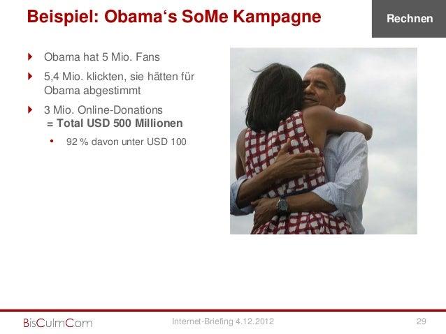 Beispiel: Obama's SoMe Kampagne                             Rechnen Obama hat 5 Mio. Fans 5,4 Mio. klickten, sie hätten ...