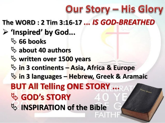 a description of the holy bible authored by god and written by men inspired of the holy spirit The holy bible was written by men divinely inspired and is god's revelation of himself to man it is a perfect treasure of divine instruction it has god for its author, salvation for its end, and truth, without any mixture of error, for its matter.