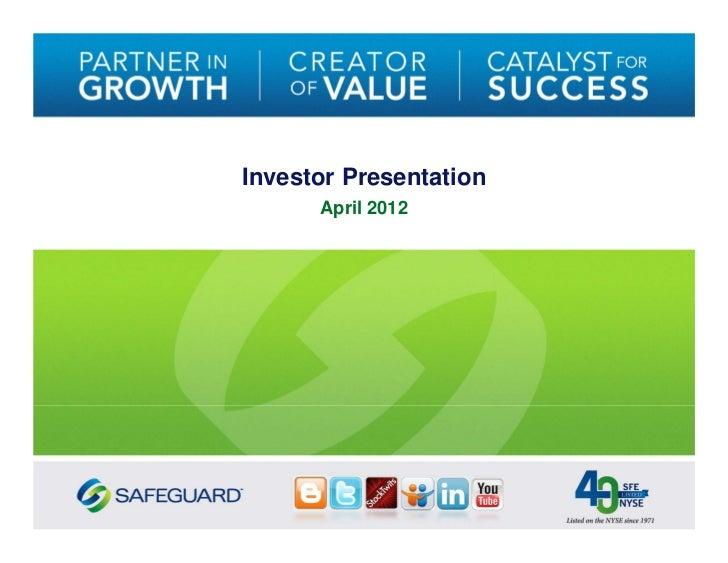 Investor Presentation      April 2012