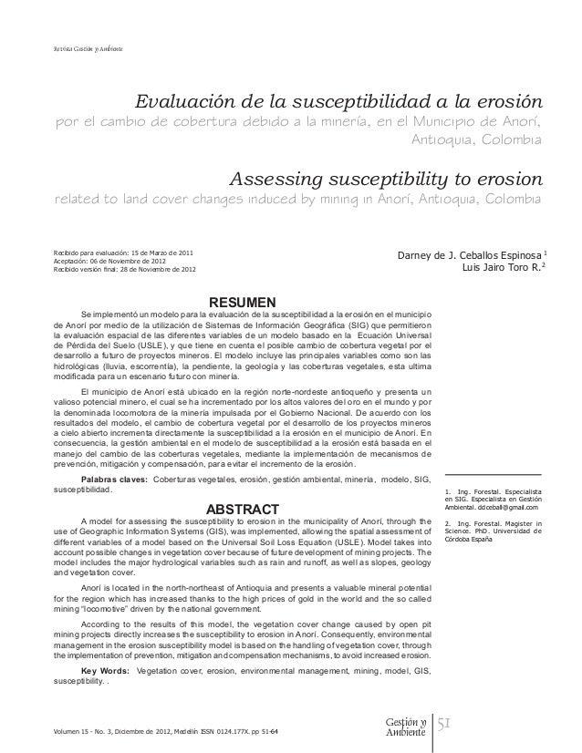 Revista Gestión y Ambiente                             Evaluación de la susceptibilidad a la erosiónpor el cambio de cober...