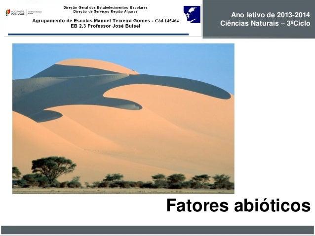 Ano letivo de 2013-2014 Ciências Naturais – 3ºCiclo  Fatores abióticos
