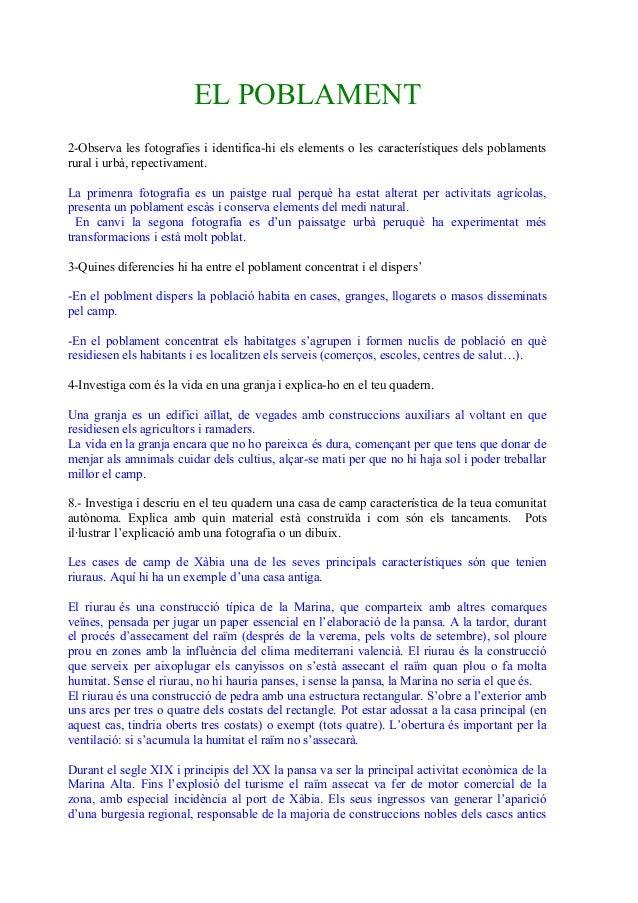 EL POBLAMENT 2-Observa les fotografies i identifica-hi els elements o les característiques dels poblaments rural i urbà, r...