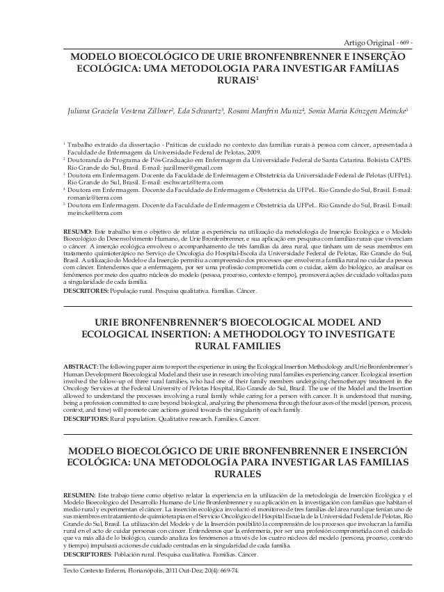 Artigo Original - 669 -  MODELO BIOECOLÓGICO DE URIE BRONFENBRENNER E INSERÇÃO  ECOLÓGICA: UMA METODOLOGIA PARA INVESTIGAR...