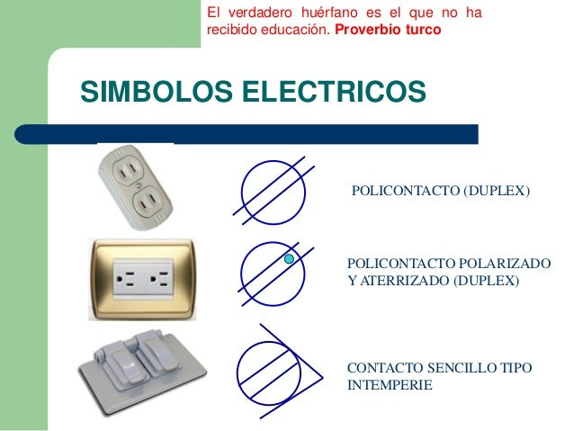 Simbolos electricos utilizados en una ier for Contacto para exterior