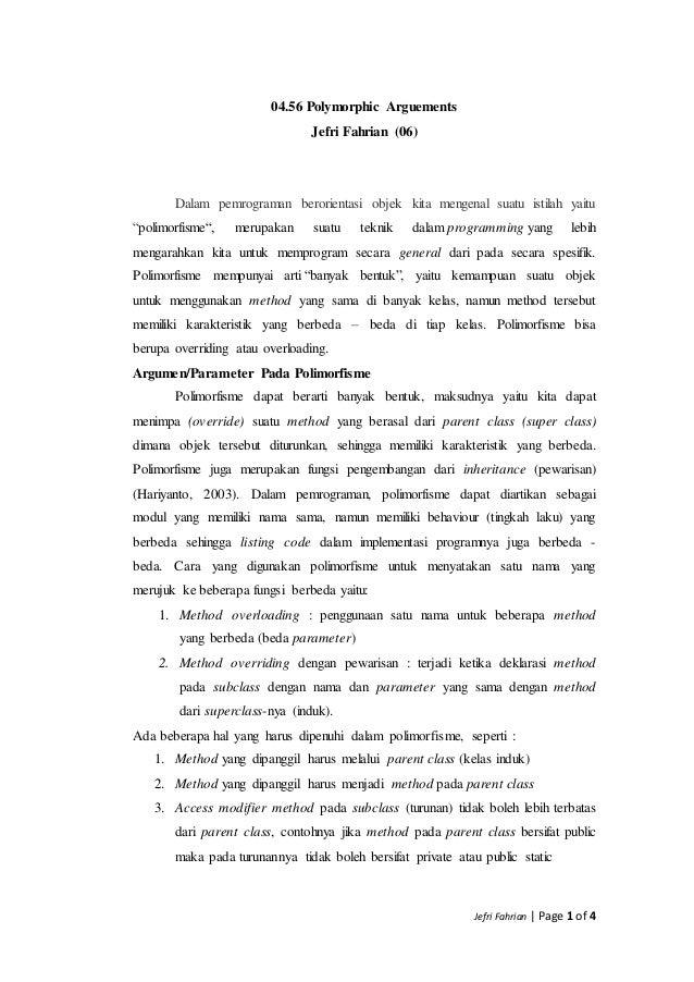 Jefri Fahrian   Page 1 of 4 04.56 Polymorphic Arguements Jefri Fahrian (06) Dalam pemrograman berorientasi objek kita meng...