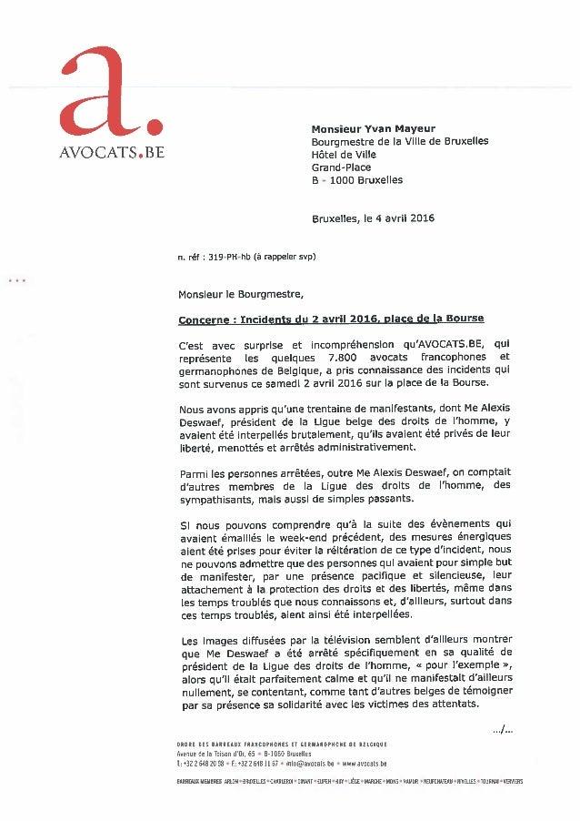 04.04.2016 Incidents de la place de la Bourse : lettre au bourgmestre de Bruxelles