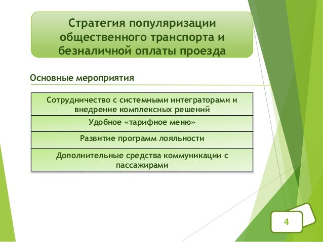 Стратегия популяризации общественного транспорта и безналичной оплаты проезда 4 Сотрудничество с системными интеграторами ...