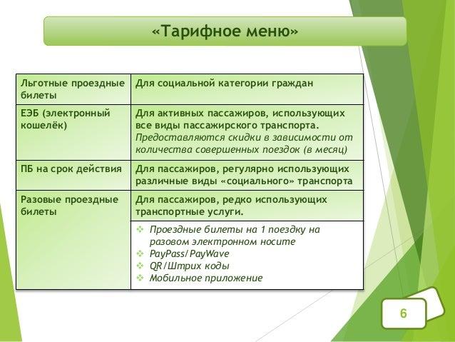 «Тарифное меню» 6 Льготные проездные билеты Для социальной категории граждан ЕЭБ (электронный кошелёк) Для активных пассаж...