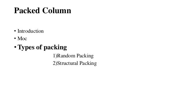 Column Packing In Mass Transfer
