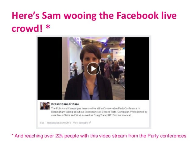 Here's Sam wooing the Facebook live crowd! * * And reaching over 22k people with this video stream from the Party conferen...