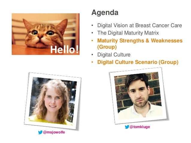 Agenda • Digital Vision at Breast Cancer Care • The Digital Maturity Matrix • Maturity Strengths & Weaknesses (Group) • Di...