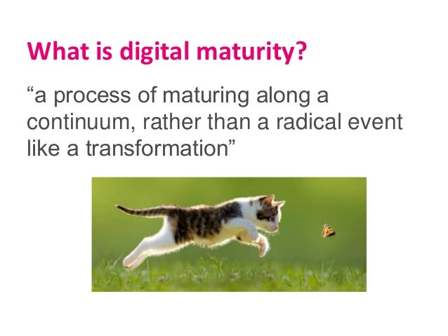 """""""a process of maturing along a continuum, rather than a radical event like a transformation"""" What is digital maturity?"""
