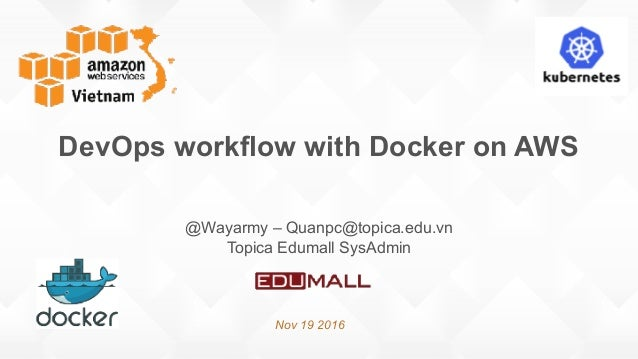 DevOps workflow with Docker on AWS Nov 19 2016 @Wayarmy – Quanpc@topica.edu.vn Topica Edumall SysAdmin