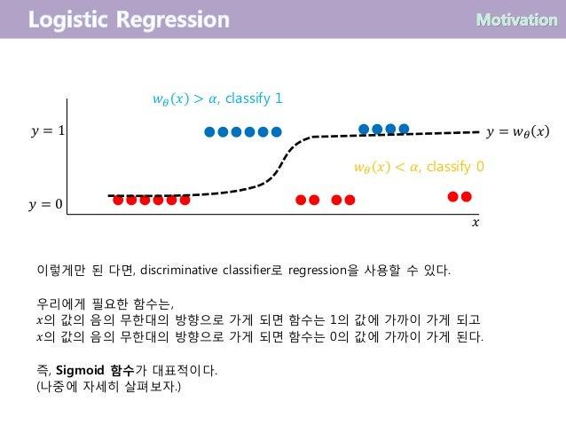 이렇게만 된 다면, discriminative classifier로 regression을 사용할 수 있다. 우리에게 필요한 함수는, 𝑥의 값의 음의 무한대의 방향으로 가게 되면 함수는 1의 값에 가까이 가게 되고 𝑥의 ...
