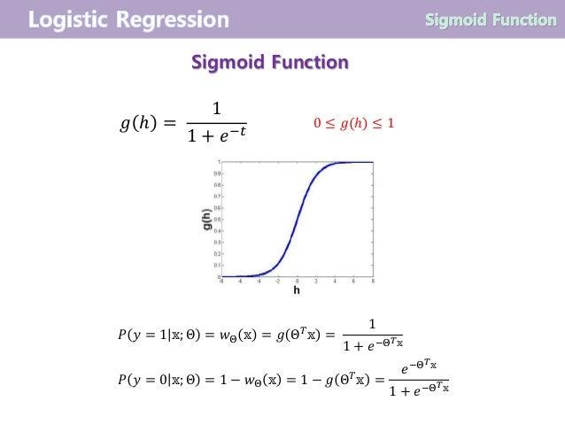 Sigmoid Function 𝑔 ℎ = 1 1 + 𝑒−𝑡 0 ≤ 𝑔(ℎ) ≤ 1 𝑃 𝑦 = 1 𝕩; Θ = 𝑤Θ 𝕩 = 𝑔 Θ 𝑇 𝕩 = 1 1 + 𝑒−Θ 𝑇 𝕩 𝑃 𝑦 = 0 𝕩; Θ = 1 − 𝑤Θ 𝕩 = 1 − ...