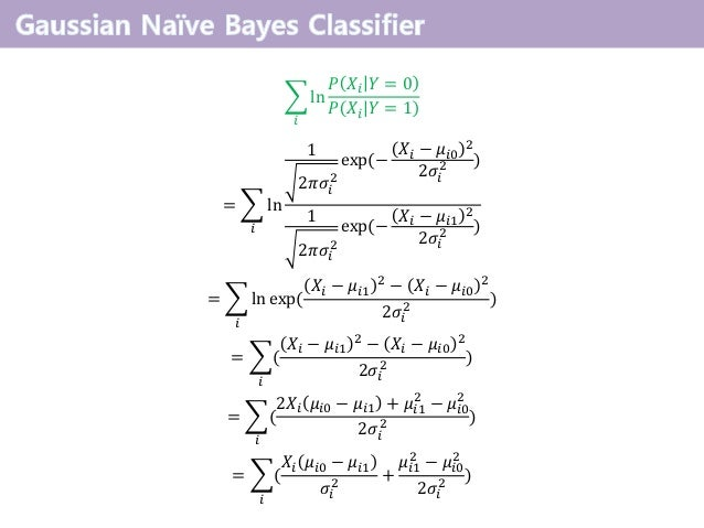  𝑖 ln 𝑃 𝑋𝑖 𝑌 = 0 𝑃 𝑋𝑖 𝑌 = 1 =  𝑖 ln 1 2𝜋𝜎𝑖 2 exp(− 𝑋𝑖 − 𝜇𝑖0 2 2𝜎𝑖 2 ) 1 2𝜋𝜎𝑖 2 exp(− 𝑋𝑖 − 𝜇𝑖1 2 2𝜎𝑖 2 ) =  𝑖 ln exp( 𝑋𝑖...