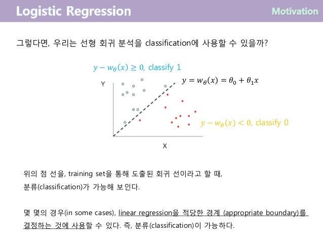 그렇다면, 우리는 선형 회귀 분석을 classification에 사용할 수 있을까? 위의 점 선을, training set을 통해 도출된 회귀 선이라고 할 때, 분류(classification)가 가능해 보인다. 몇 몇...