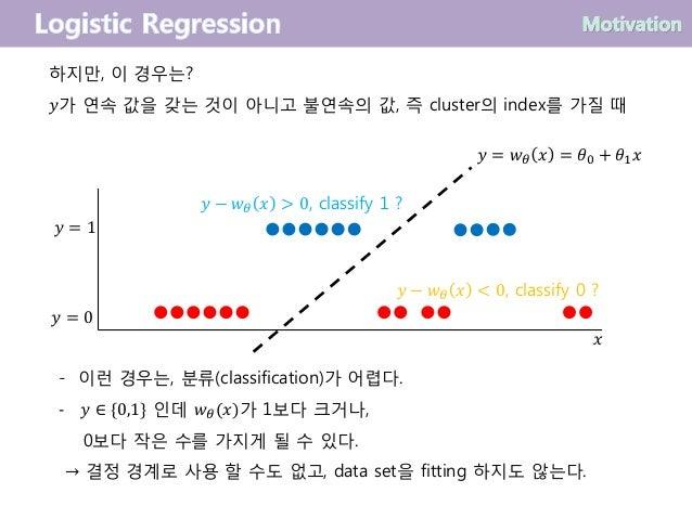 하지만, 이 경우는? 𝑦가 연속 값을 갖는 것이 아니고 불연속의 값, 즉 cluster의 index를 가질 때 𝑦 − 𝑤 𝜃 𝑥 > 0, classify 1 ? 𝑦 − 𝑤 𝜃 𝑥 < 0, classify 0 ? - 이런...