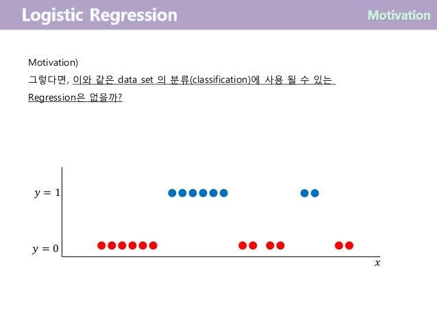 Motivation) 그렇다면, 이와 같은 data set 의 분류(classification)에 사용 될 수 있는 Regression은 없을까? 𝑦 = 0 𝑦 = 1 𝑥