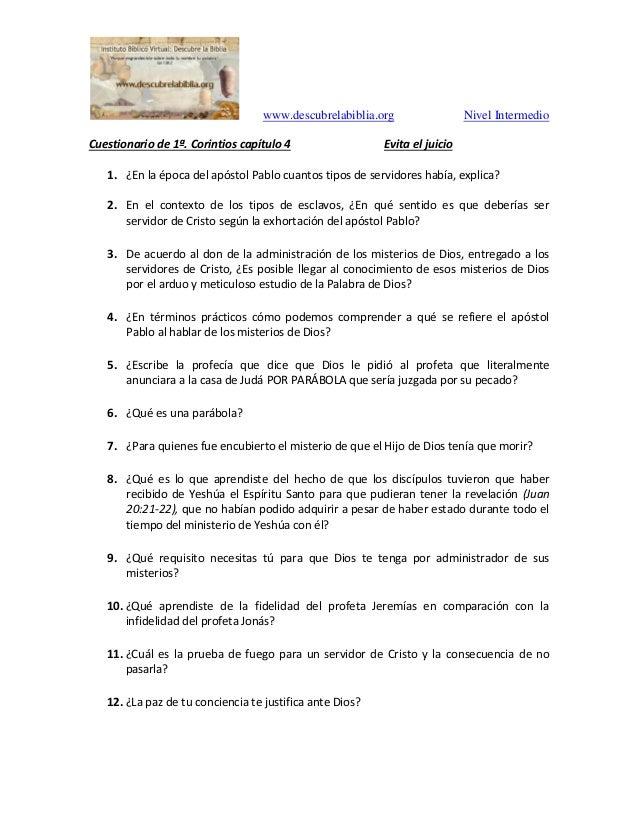 www.descubrelabiblia.org Nivel Intermedio Cuestionario de 1ª. Corintios capítulo 4 Evita el juicio 1. ¿En la época del apó...