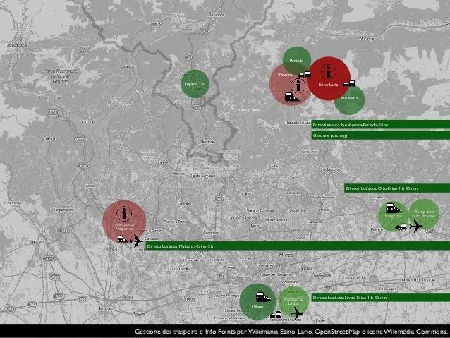 Gestione dei trasporti e Info Points per Wikimania Esino Lario. OpenStreetMap e icone Wikimedia Commons. Aeroporto Malpens...