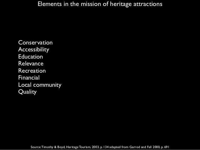 Elements in the mission of heritage attractions Source:Timothy & Boyd, Heritage Tourism, 2003, p. 134 adapted from Garrod ...