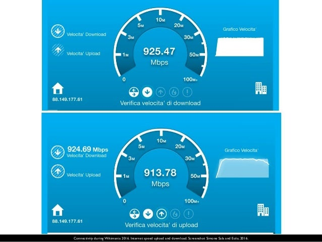 Connectivity during Wikimania 2016. Internet speed upload and download. Screenshot Simone Sala and Eolo, 2016.