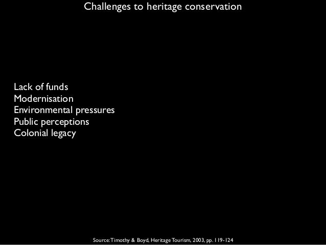 Challenges to heritage conservation Source:Timothy & Boyd, Heritage Tourism, 2003, pp. 119-124 Lack of funds Modernisation...
