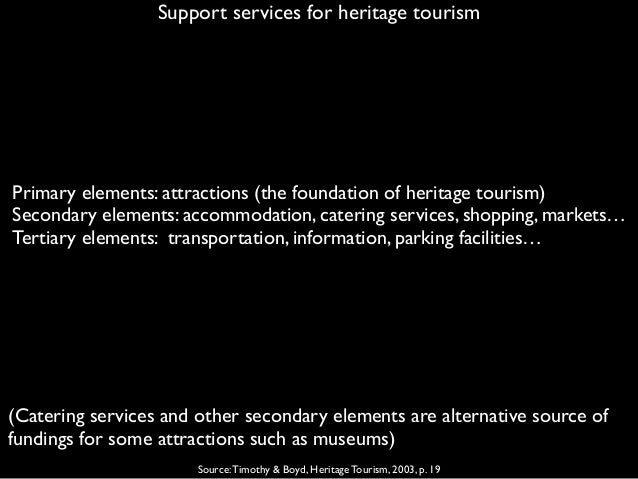 Support services for heritage tourism Source:Timothy & Boyd, Heritage Tourism, 2003, p. 19 Primary elements: attractions (...