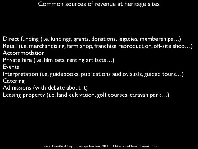 Common sources of revenue at heritage sites Source:Timothy & Boyd, Heritage Tourism, 2003, p. 144 adapted from Stevens 199...