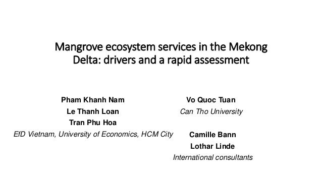 Mangrove ecosystem services in the Mekong Delta: drivers and a rapid assessment Pham Khanh Nam Le Thanh Loan Tran Phu Hoa ...