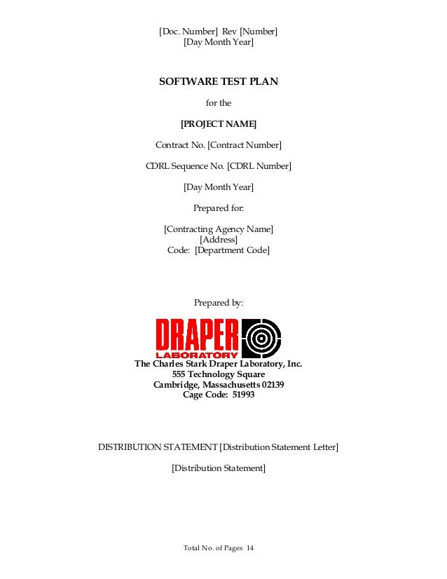 [Doc. Number] Rev [Number] [Day Month Year] SOFTWARE TEST PLAN for the [PROJECT NAME] Contract No. [Contract Number] CDRL ...