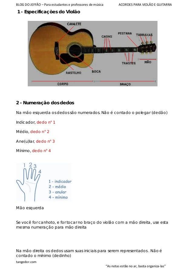 BLOG DO JEFFÃO – Para estudantes e professores de música ACORDES PARA VIOLÃO E GUITARRA 1 - Especificações do Violão 2 - N...